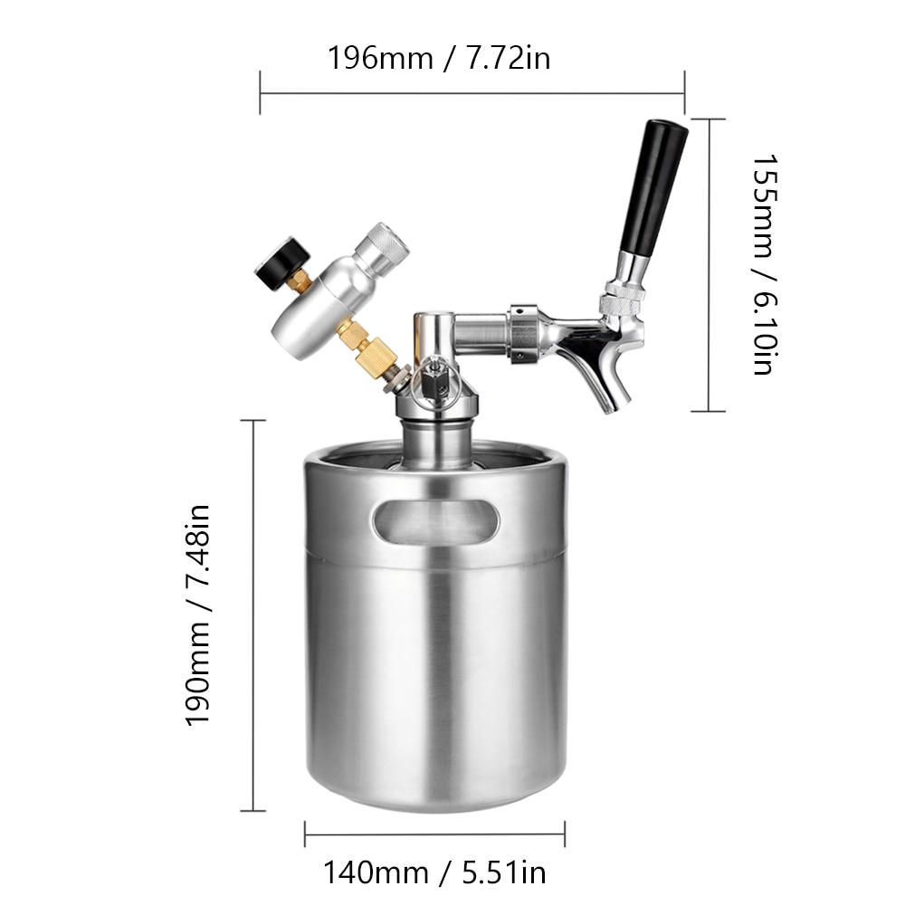 2L Mini Beer Keg set with Tap Pressurized Home Beer Brewing Craft Beer Dispenser Growler System Beers Keg kit equipment machine