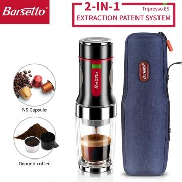 Barsetto 2 in 1 portable Coffee Machine , 15 Bar Manual capsule espresso Maker For Nespresso capsules & coffee powder